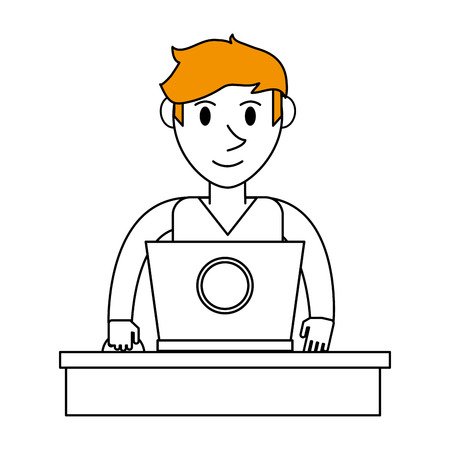 color silhouette cartoon front view half body guy with laptop computer vector illustration