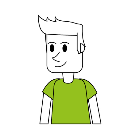 color silhouette cartoon front view half body guy with green t-shirt and hairstyle vector illustration Illustration