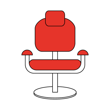 color silhouette cartoon comfortable red desk chair vector illustration