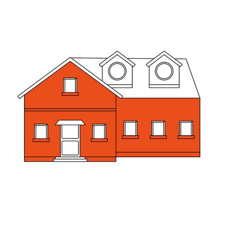color silhouette cartoon orange facade big comfortable house vector illustration 일러스트