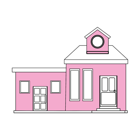 apartment suite: color silhouette cartoon pink facade modern house with two rooms and attic vector illustration Illustration