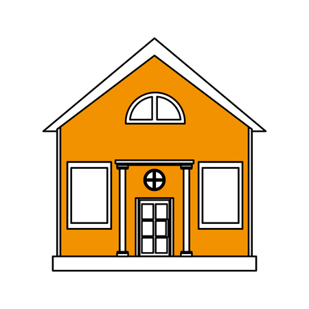 penthouse: color silhouette cartoon yellow facade structure house with modern style vector illustration