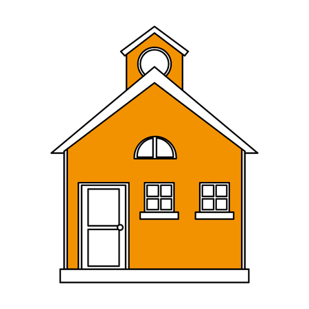 color silhouette cartoon yellow facade comfortable house with attic vector illustration