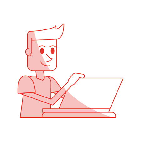 red shading silhouette cartoon side view half body guy with laptop computer vector illustration Illustration