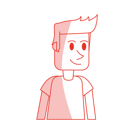 red shading silhouette cartoon front view half body guy with t-shirt and hairstyle vector illustration Illustration