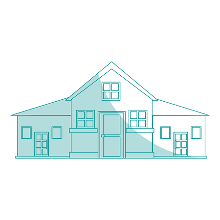 penthouse: blue shading silhouette cartoon facade big comfortable house with two floors vector illustration