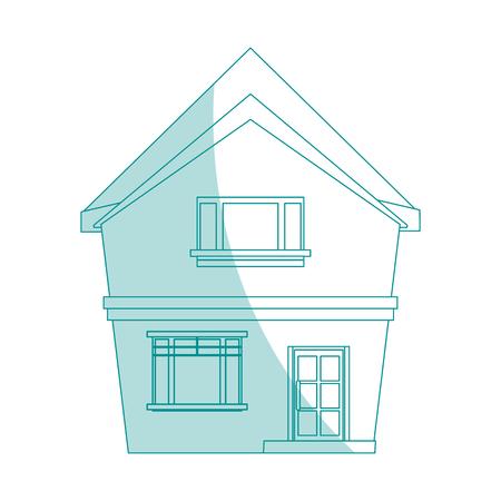 penthouse: blue shading silhouette cartoon facade irregular structure house vector illustration
