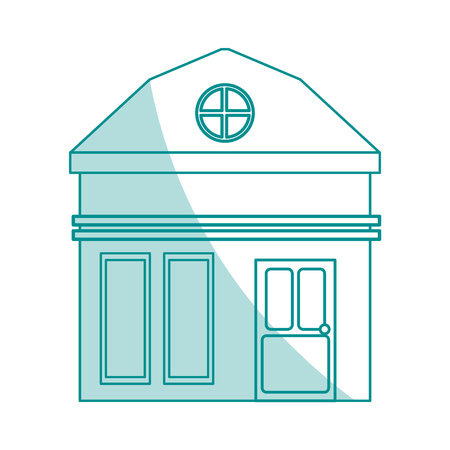 penthouse: blue shading silhouette cartoon facade small house with attic vector illustration