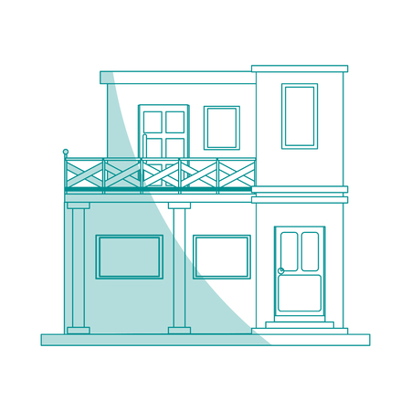 Silhouette De Couleur Dessin Anim Faade Verte Style De Maison