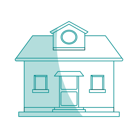 apartment suite: blue shading silhouette cartoon facade comfortable house with attic vector illustration