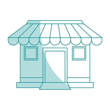 shopfront: blue shading silhouette cartoon facade shop store vector illustration Illustration