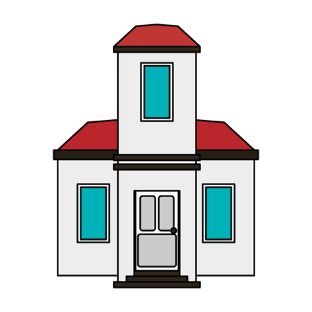 penthouse: colorful image cartoon facade modern house style vector illustration
