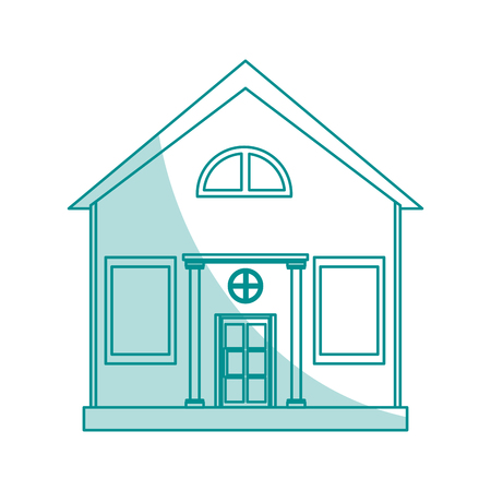 penthouse: blue shading silhouette cartoon facade structure house with modern style vector illustration