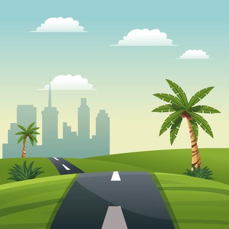 road meadow palm tree - cartoon city background vector illustration Illustration