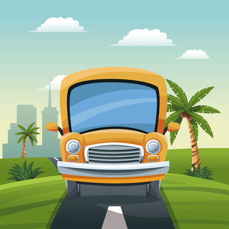 yellow bus travel vacation road landscape city background vector illustration