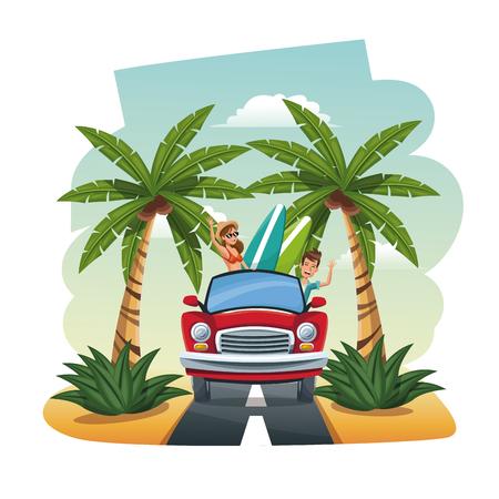 cartoon couple red car surfboard tropical road vector illustration Illustration