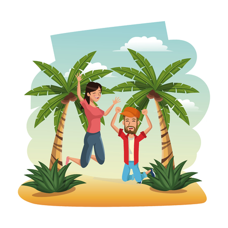 happy couple leap beach. time travel tropical vacations concept vector illustration Illustration