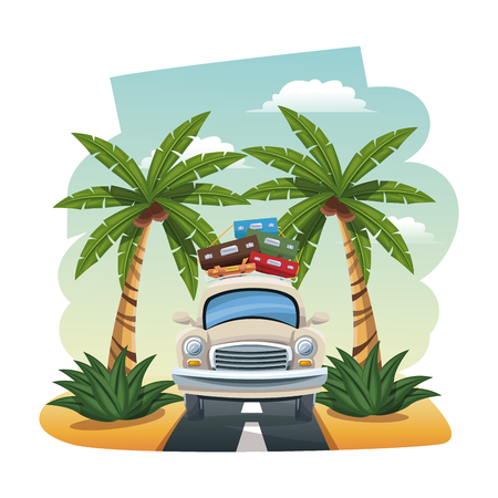 seacoast: cartoon car with luggage on roof tropical road vector illustration