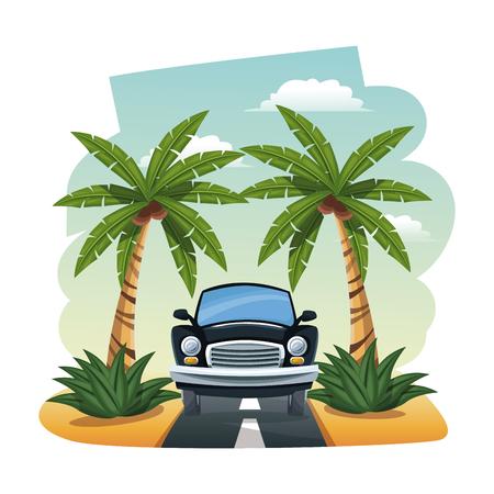 seacoast: cartoon black car parked on the tropical road vector illustration