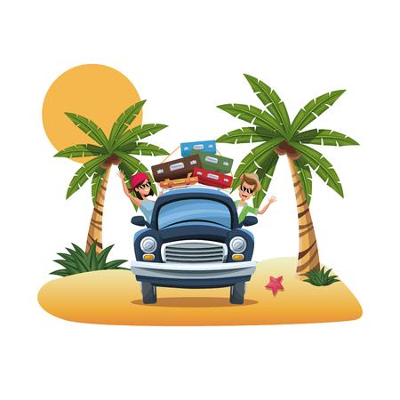 seacoast: cartoon couple luggage car parked on the tropical beach vector illustration