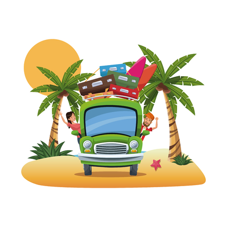 seacoast: cartoon couple bus suitcases parked on the tropical beach vector illustration Illustration