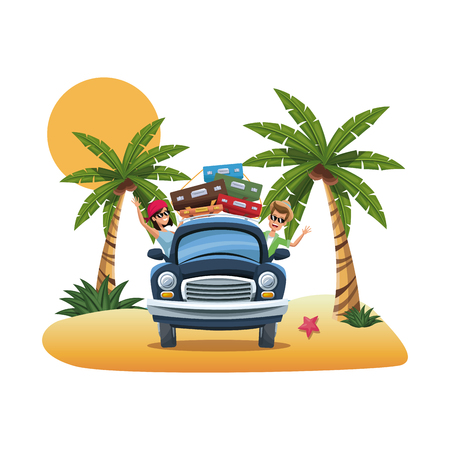 seacoast: cartoon couple happy black car parked on the tropical beach vector illustration
