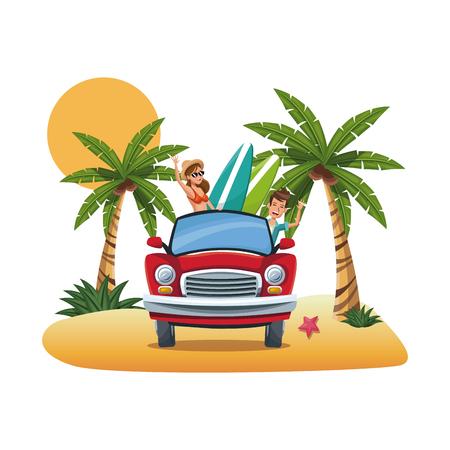 seacoast: cartoon couple red car surfboard parked on the tropical beach vector illustration