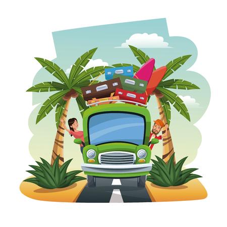 seacoast: cartoon couple bus baggage surfboard on the tropical road vector illustration