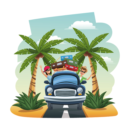 seacoast: cartoon happy couple vintage car suitcases on the tropical road vector illustration