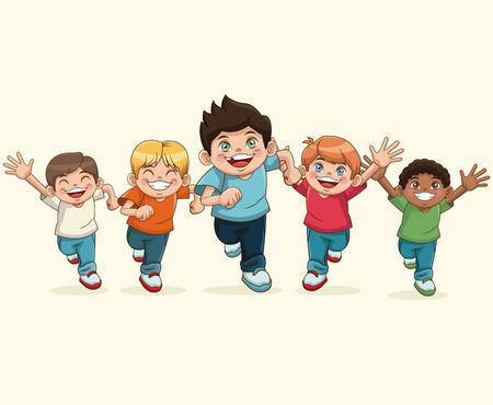 幸せな子供の日。おかしなベクトル図を笑って漫画グループ少年