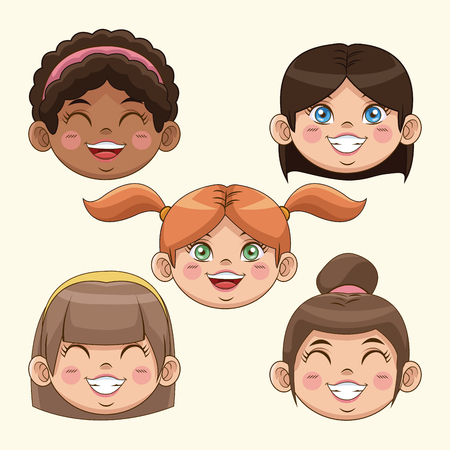 animated boy: happy children day girls face smiling cute funny vector illustration