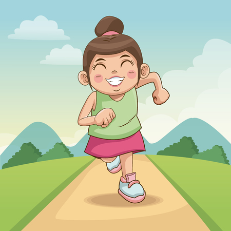 children day happy. cute little girl on the road. child running on road vector illustration