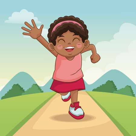 children day happy. cute little girl on the meadow. child running on road vector illustration Illustration
