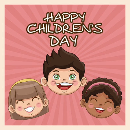 happy children day card. cute faces kids smiling image vector illustration