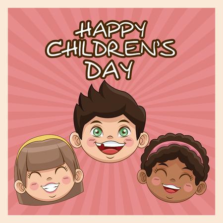 Tarjeta feliz del día de los niños. cute caras niños sonriente imagen vectorial Foto de archivo - 77740583