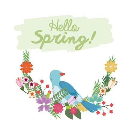ornithologist: Hello spring lettering with bird flower branch botanical poster vector illustration Illustration