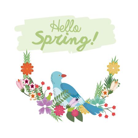 Hello spring lettering with bird flower branch botanical poster vector illustration Illustration