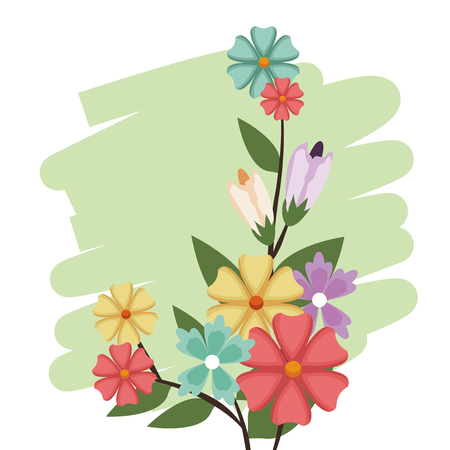 Flowers bunch nature spring petal design vector illustation Illustration
