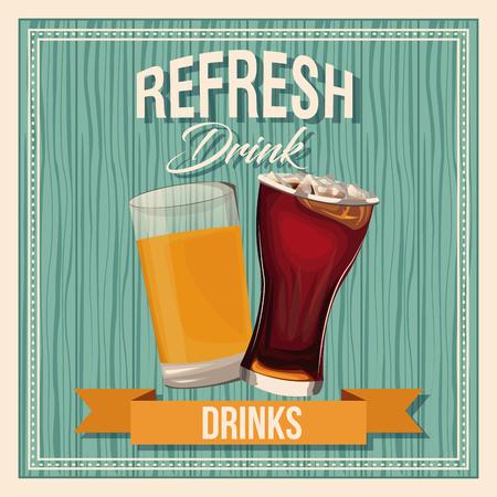 blanc: Refresh drinks beer glass soda liquid vintage poster vector illustration