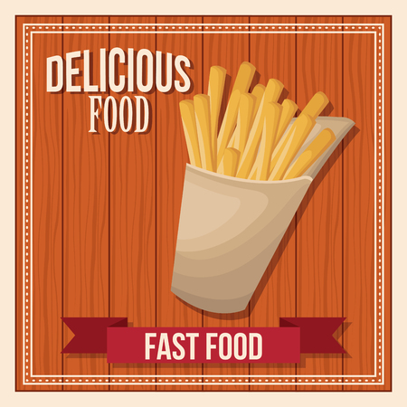 Delicious food. french fries fast food. poster wooden background vector illustration Illustration