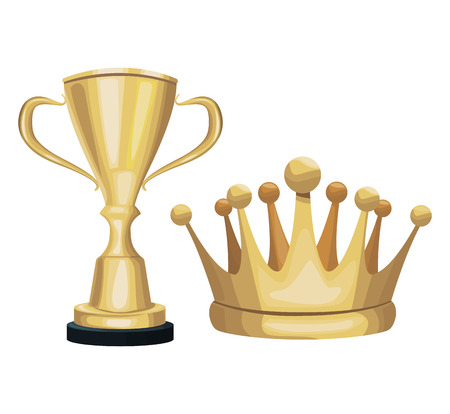 Golden trophy and crown decoration ornament celebration vector illustration Illustration