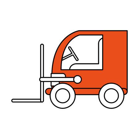 Color contour cartoon orange forklift truck with forks transporting package.