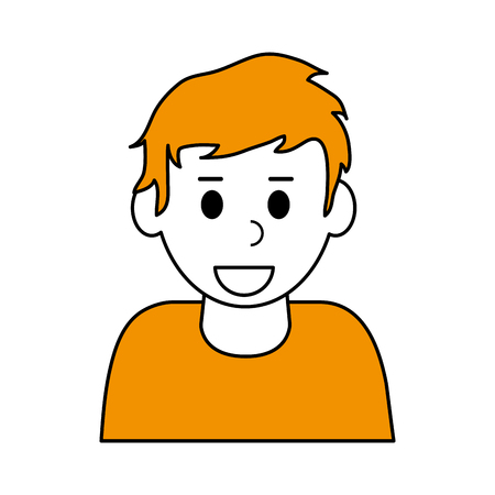 Color contour cartoon half body blonded man with t-shirt.