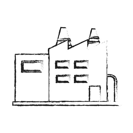 blurred silhouette cartoon building industrial factory vector illustration