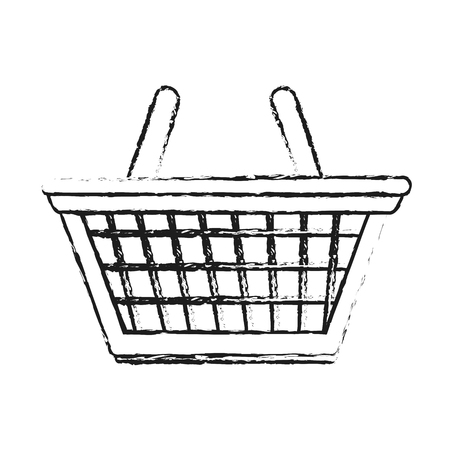 Blurred silhouette cartoon shopping basket with double handles vector illustration