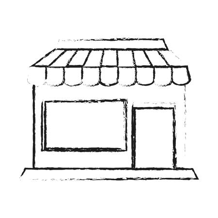 Blurred silhouette cartoon facade shop store vector illustration Illustration