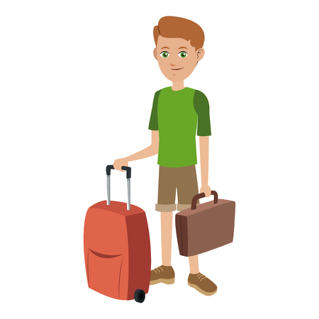 voyager: Tourist man journey with baggage vector illustration