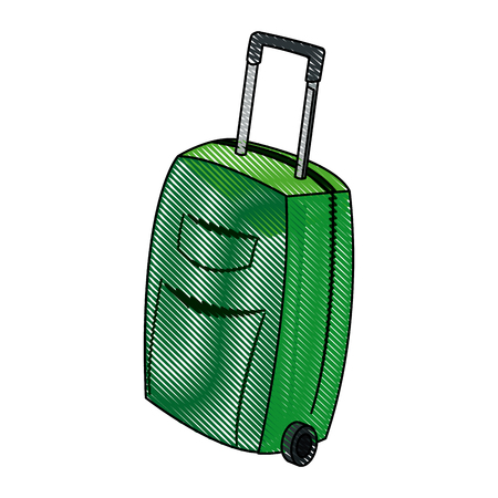 suitcase packing: travel case wheel travel handle image vector illustration Illustration