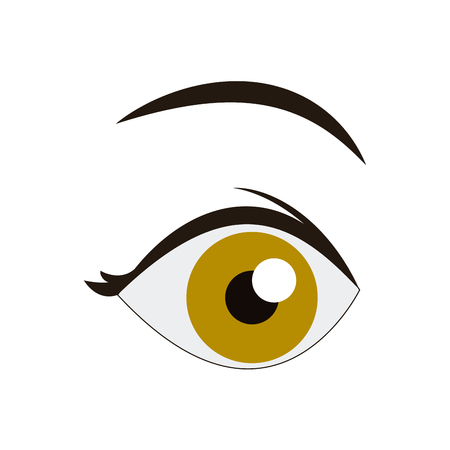 Cartoon oog kijk wenkbrauw menselijk beeld vector illustratie
