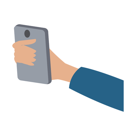 iphon: hand holding smartphone technology digital vector illustration